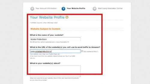 Enter your website or blog information for Amazon approval