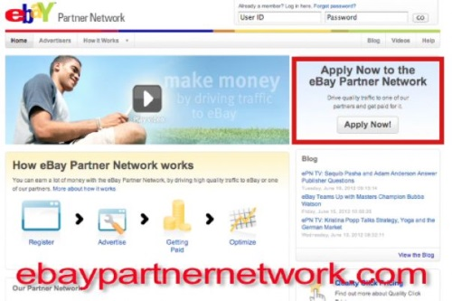 """Amazon.com is the world's largest electronic commerce company"""" In order to setup your account with Ebay's Partner Network, visit www.EbayPartnerNetwork.com. In the top right corner, click on the button that says """"Apply Now!"""". Follow instructions on the page to fill out the application. Once the application is filled out, there will be a 2-4 waiting period as Ebay reviews your information. After Ebay accepts your application, you will have full access to the Partner Network page. <center><img src="""