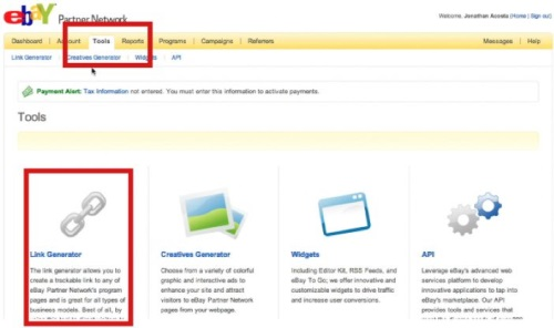 Click on the Tools tab to access links, banners, and widgets to add to your blog or site