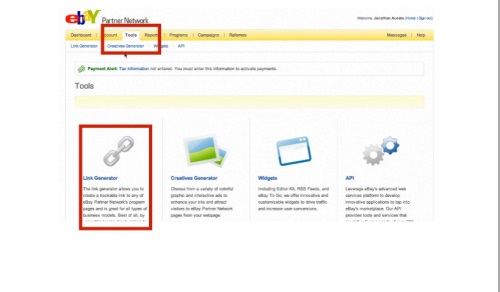 Click on the Tools tab to access the link generator