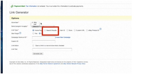 Try setting your ebay link type to the'search results' option