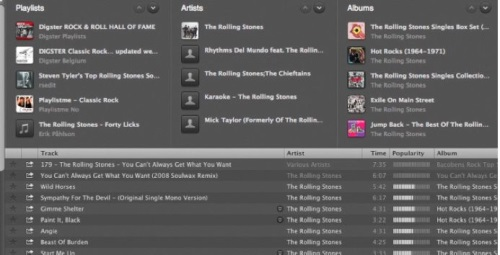 Music can be browsed by artist, album, record label, genre, or playlist inside of Spotify