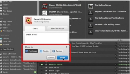Instantly share music with you friends through Facebook, Twitter, or Tumblr