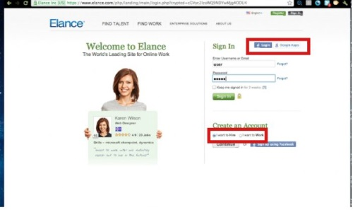 Login to Elance.com using your Google apps or Facebook account