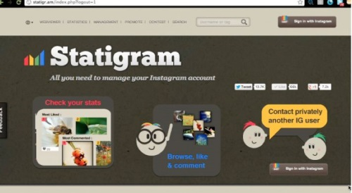 "Statigram allows you to share your instagram photos on adesktop"" /></center></p> <p>However, with a great new website called Statigram, you can now access all of your photos and place them on a webpage to link and share with the rest of the world on a desktop interface.</p> <p><center><img src="