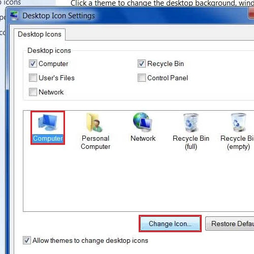 Choose the icon to be changed