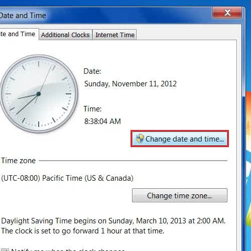 Click on the 'Change date and time' button