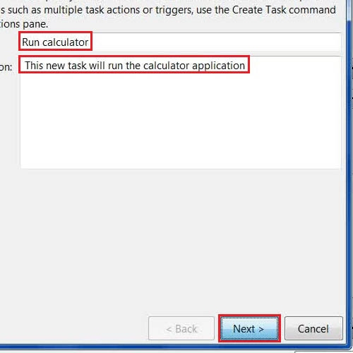 Select a name and task description