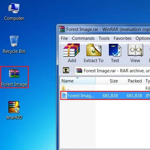 Open and use the RAR file