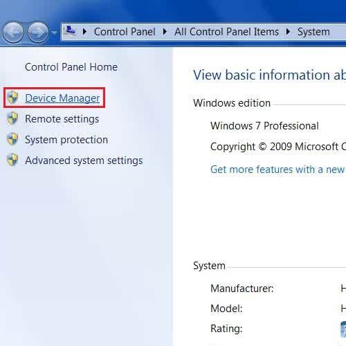 Go to the Device Manager Panel