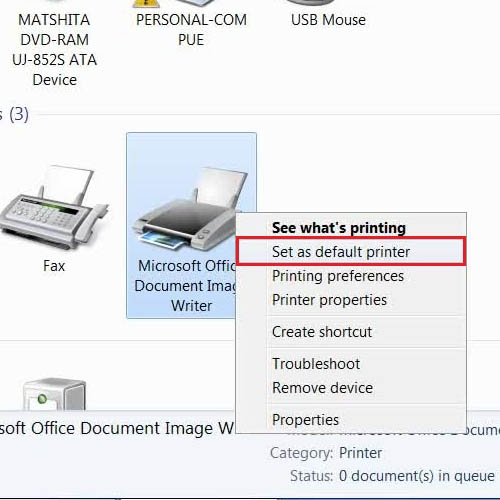 Right click and set the default printer