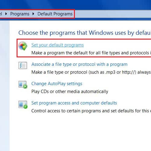 Go to the default programs option