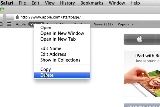 Right click and delete to get rid of bookmarks