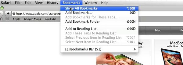 Select Show all Bookmarks in the bookmarks window