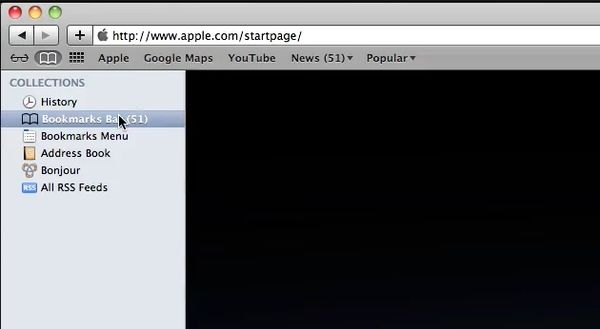 Find bookmark in the browser on the left