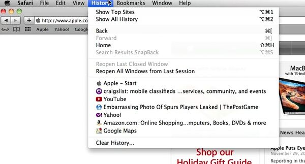 Delete Browsing history on a mac by going to history in Safari