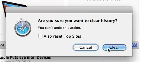 Click on Clear to delete your history