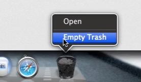 Select empty trash