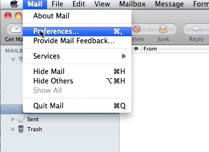 Click on mail at the top of the menu bar