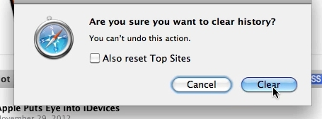 Click Clear to make sure you want to clear history