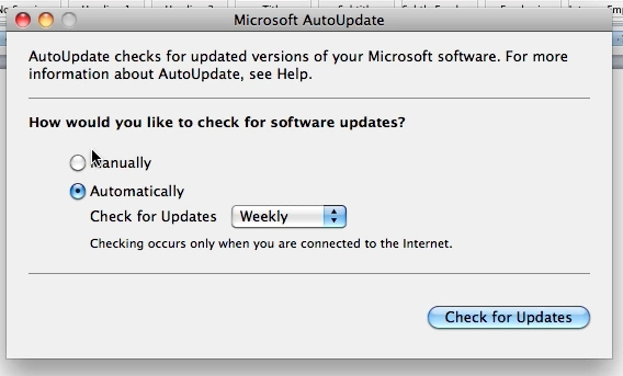Choose Manually or Auto and click Check for Updates