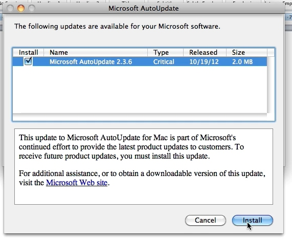 If there are updates you will now be able to update office for Mac