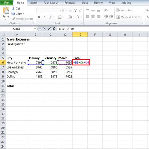 how to find the sum of cells in excel