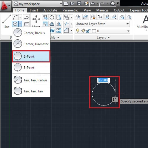 Make circle by specifying points