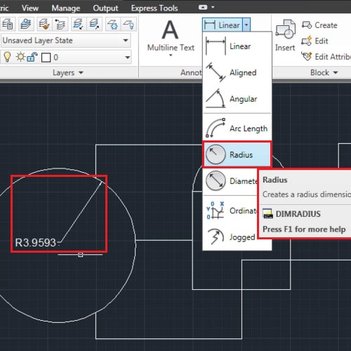 Insert CAD Dimensions to circular objects