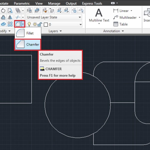 How To Use The Fillet And Chamfer Tools In AutoCAD