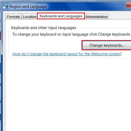 Open the change Keyboards Option