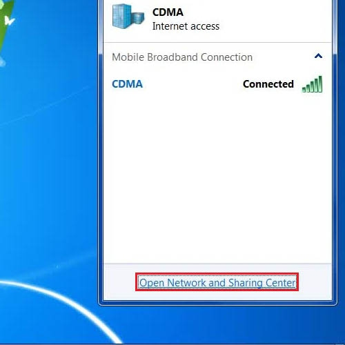 Go to the network and sharing center