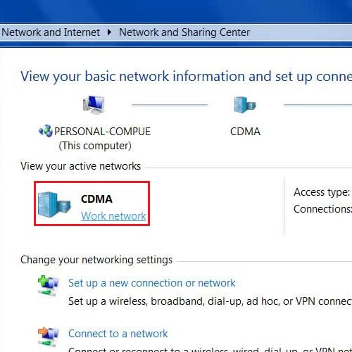 Click to open the current location of network