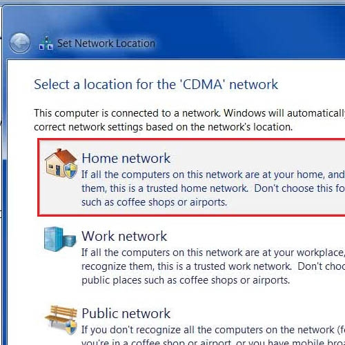 Select the Home Network location
