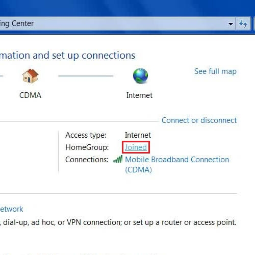 Go to home network settings