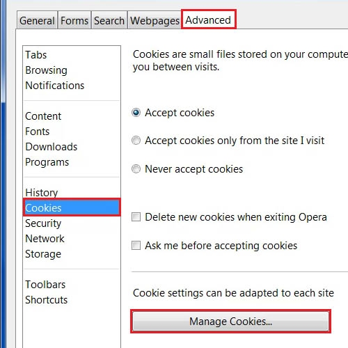 Click on the 'Manage Cookies' option