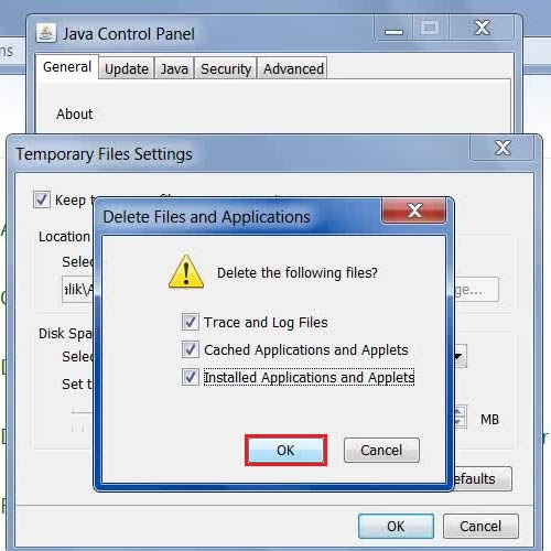 Choose to delete 'All files'