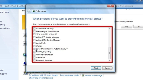 Selecting more startup programs to prevent running