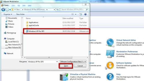 Opening the VMware image file