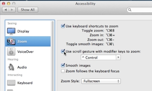 Setup zoom settings