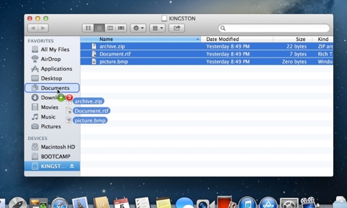 Copy files from Flash drive onto your Mac