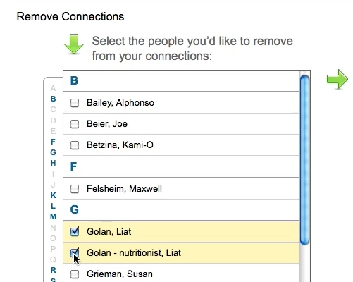 check the connections you want to remove