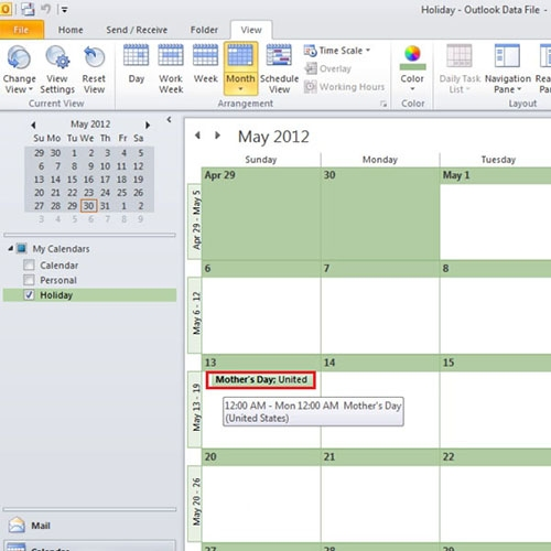 Mark 'Holidays' in New Calendar