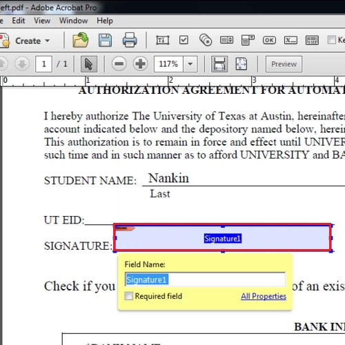 Select are for Digital Signature
