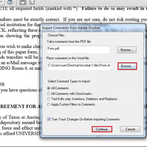 Select the file and press the continue button
