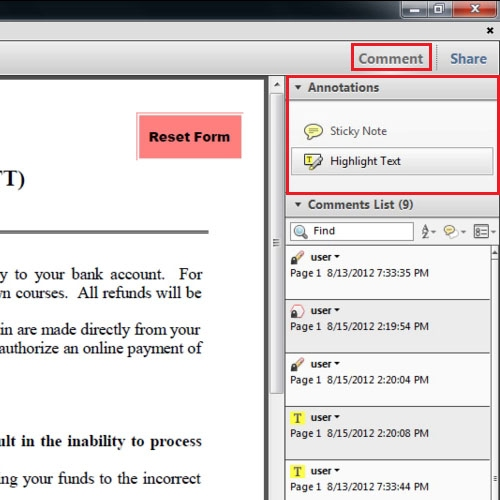 View the document in Adobe Reader
