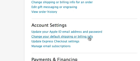 click Change your default shipping or billing info
