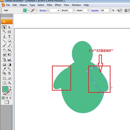Draw ellipses to make hands