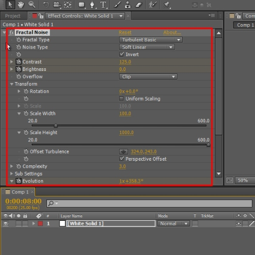 Change the settings for Fractal Noise Effect
