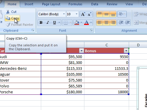 Copy the Excel chart to the clipboard